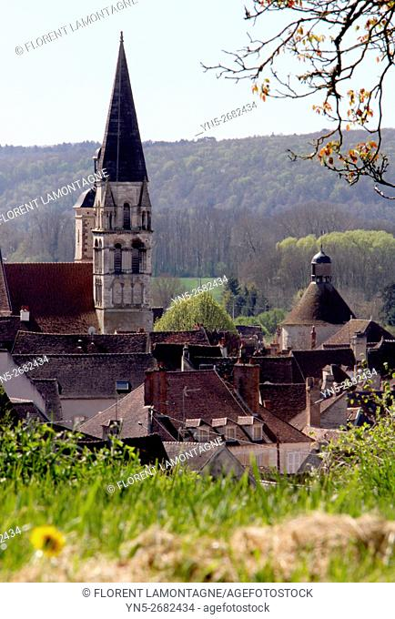 France, view on the stiple of the church of Vermenton in Yonne departement in Burgundy region