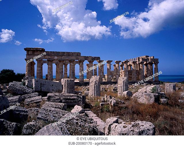 Ruins of Selinunte, an abandoned ancient Greek city, with ruins of an acropolis