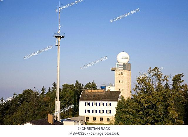 German weather service on the Hoher Peissenberg mountain, Upper Bavaria, Bavaria, South Germany, Germany