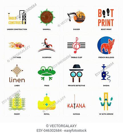 c9e98dd56 Set Of 16 simple editable icons such as w with arrow, katana, royal,
