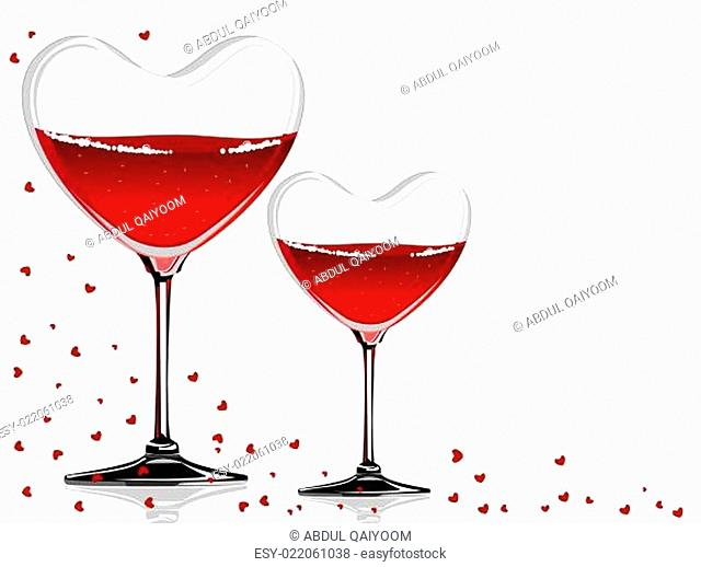 Vector illustration of a wine glass in a heart shape on white background