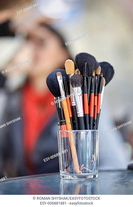 Closeup of brushes for make-up