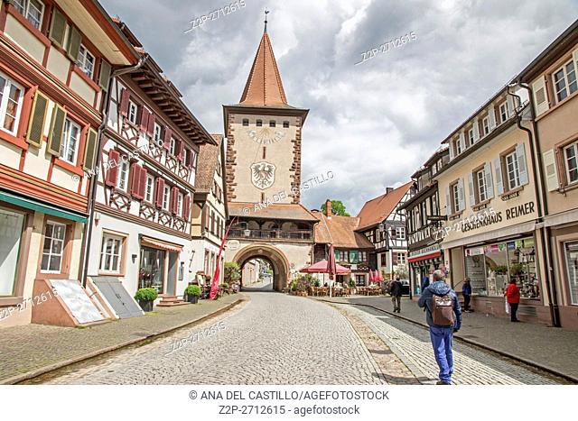 Obertor the Upper gate tower in Gengenbach, Black Forest, Baden-Wurttemberg, Germany, Europe on May 15, 2016