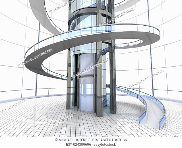 Science fiction architecture visualisation. 3D rendered illustration