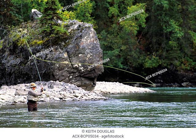 Flyfisherman casting for steelhead, Bulkley river, Smithers, British Columbia, Canada