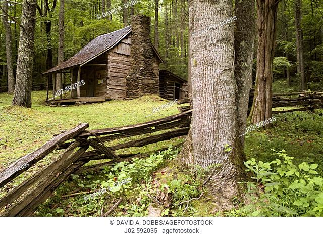James Arch Stewart cabin built in the Appalachian Mountains of the state of North Carolina United States of America 1879 now located in the Nantahala National...