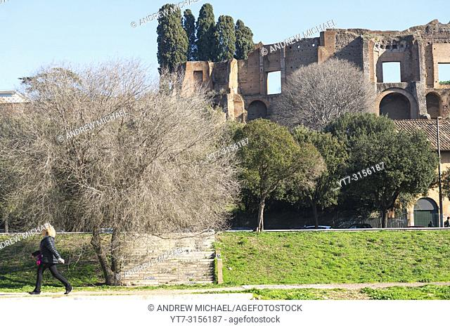 Ruins of Domus Augustana palace on Palatine Hill seen from Circus Maximus, Rome, Lazio, Italy