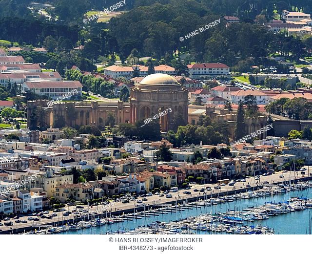 Aerial view, Palace of Fine Arts, Presidio, Theater, San Francisco, San Francisco Bay Area, California, USA