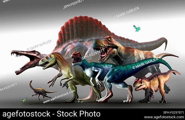 Carnivorous dinosaurs, illustration