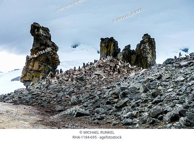 Penguins below dramatic rock formations, Half Moon Bay, South Sheltand Islands, Antarctica, Polar Regions