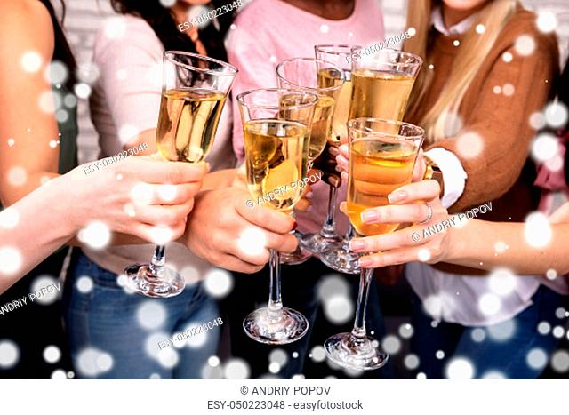 Close-up Of Women Celebrating A Bachelorette Party And Clinking Champagne Glasses