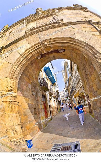 Door of Castillo del Puente, Door of Carlos V, 16th Century Plateresque Style, Spanish Property of Cultural Interest, Spanish National Heritage Site, Viveiro