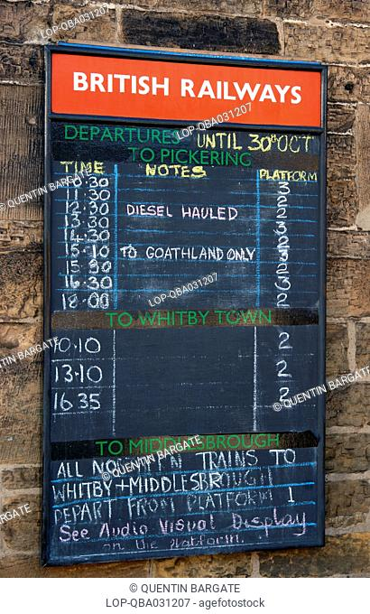 England, North Yorkshire, Grosmont. Old fashioned British Railways departures board at Grosmont station on the North Yorkshire Moors Railway