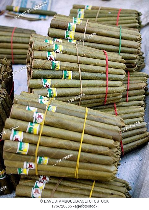 Bundles of cheroots for sale at market in Inle Lake in Myanmar