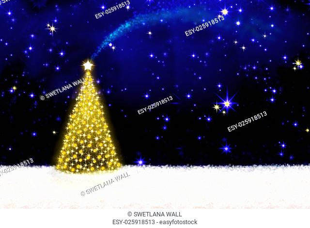 Beautifully decorated Christmas tree with golden lights and white snow.Christmas background.Christmas tree and starry sky background