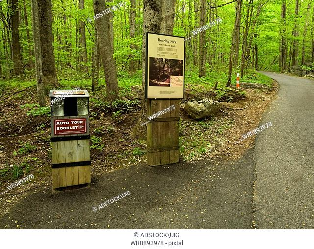 Signs, Roaring Fork Motor Nature Trail, Spring, Great Smoky Mountains National Park, TN, USA