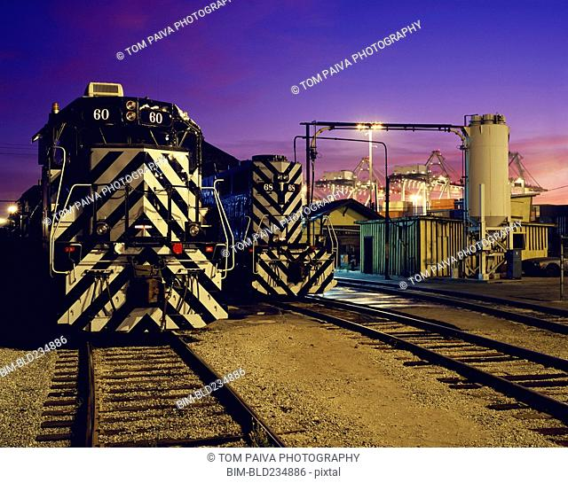 Locomotive on train tracks