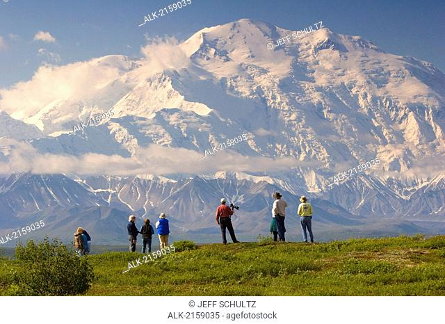 Group Of Tourists View Mt.Mckinley From Tundra Overlook Near Wonder Lake Denali National Park Alaska