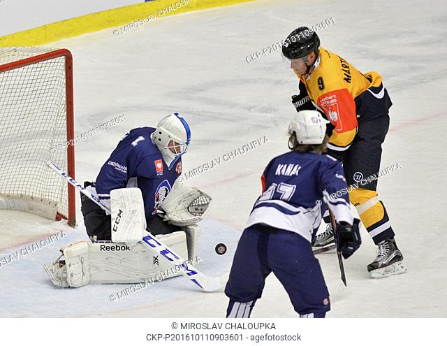 From left: Lukas Sochurek and Lukas Kanak of Plzen and Tony Martensson of Lugano in action during the ice hockey Champions League