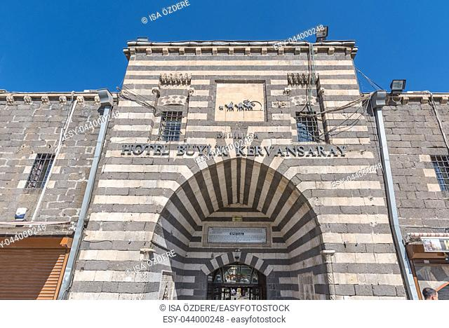 Gate of Deliller Han Madrassah Khan,a medieval inn used for a hotel now in Diyarbakir,Turkey. 16 July 2018