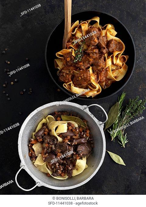 Pappardelle con Lepre and tagliatelle with wild boar