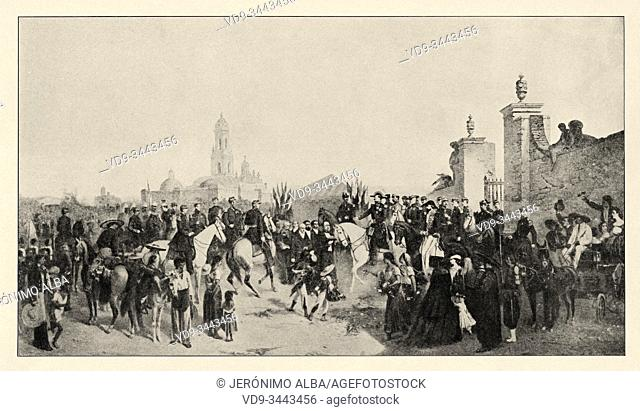 Mexican war. Entry of the army from France to Mexico on June 10, 1863. History of France, old engraved illustration image from the book Histoire contemporaine...