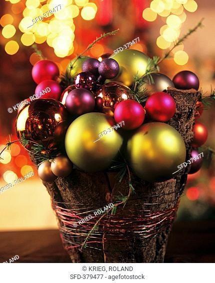 Small arrangement of Christmas baubles