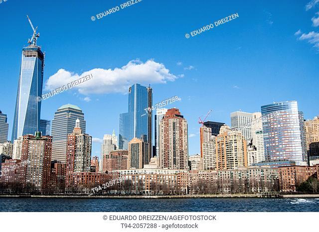 Lower Manhattan and World Trade Center panorama, New York City
