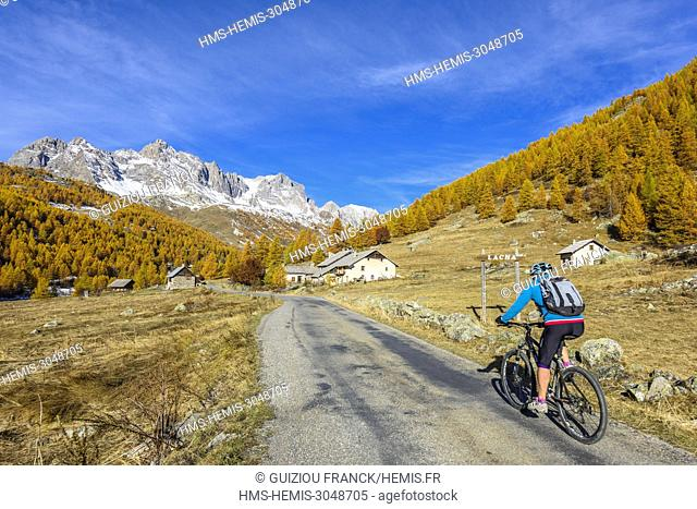 France, Hautes Alpes, Brianconnais in fall, Claree valley, Lacha Chalets
