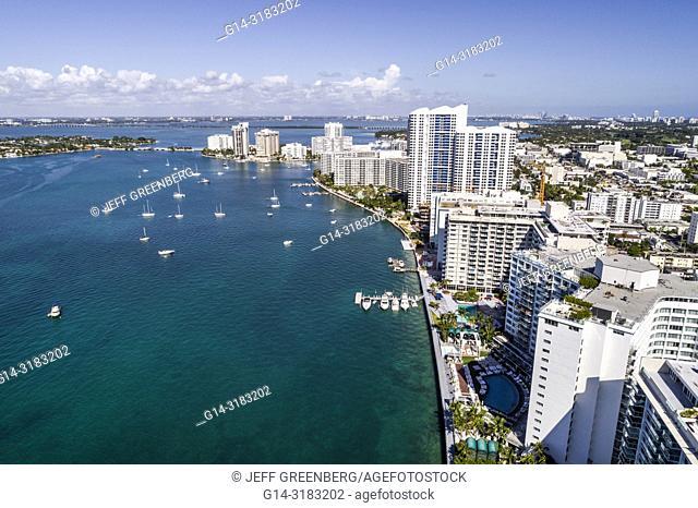 Florida, Miami Beach, Biscayne Bay, aerial overhead bird's eye view above, high rise condominium buildings, waterfront, boats, Mondrian South Beach, hotel