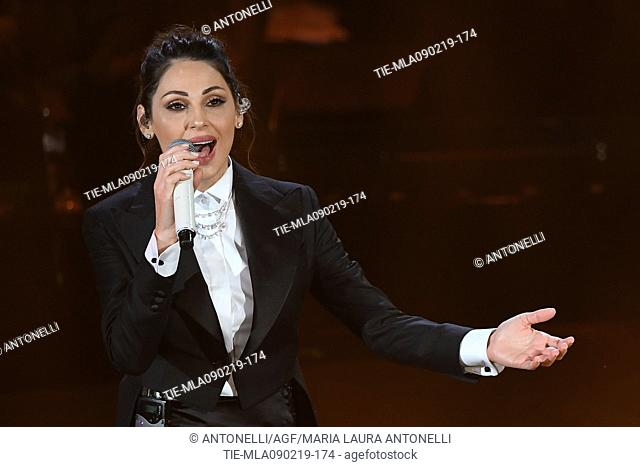 Singers Anna Tatangelo during 69th Festival of the Italian Song, Sanremo fourth evening. Sanremo, Italy 08 Febr 2019