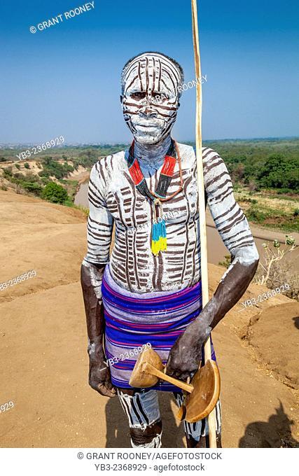 A Portrait Of A Village Elder From The Karo Tribe, Kolcho Village, Omo Valley, Ethiopia
