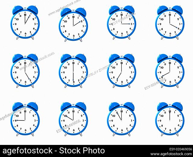 Twelve blue alarm clock&#039 s
