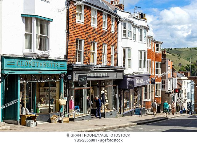 Colourful Shops In The High Street, Lewes, Sussex, UK