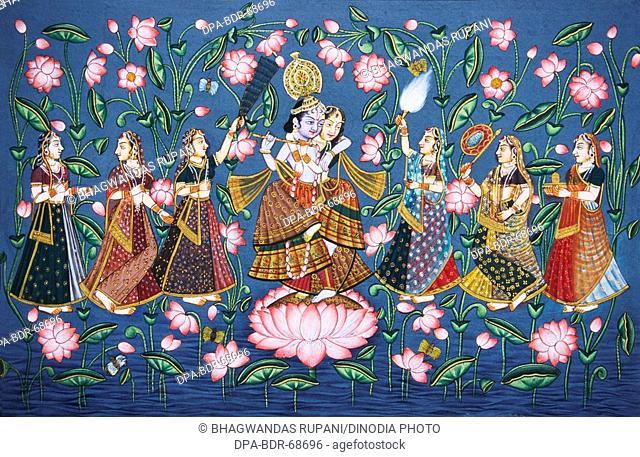 Radha Krishna with sakhis miniature painting on paper