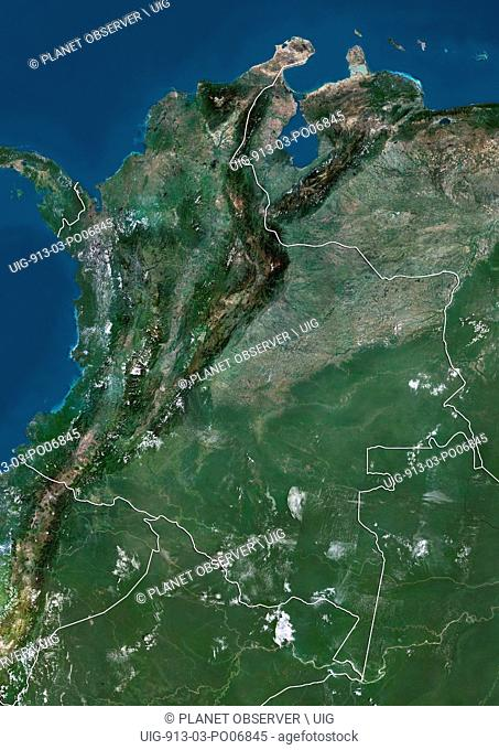 Satellite view of Colombia (with country boundaries). This image was compiled from data acquired by Landsat satellites