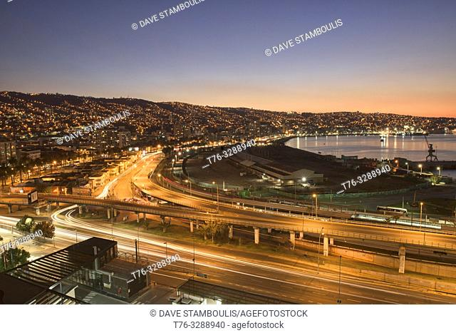 Evening view of the city and bay, Valparaiso, Chile