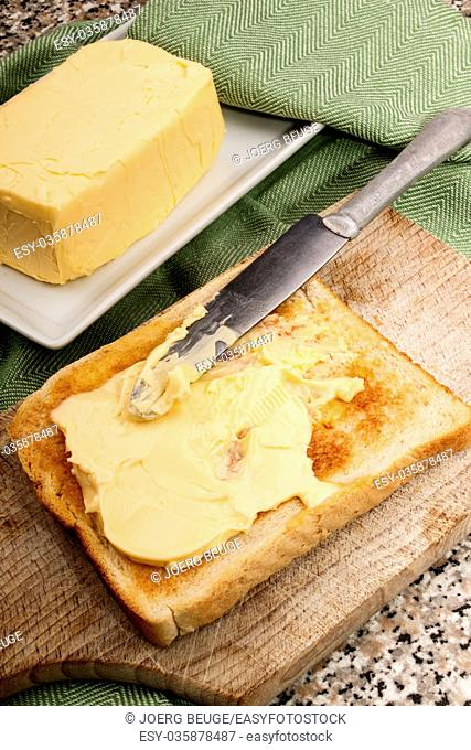 salty irish butter on warm toast bread