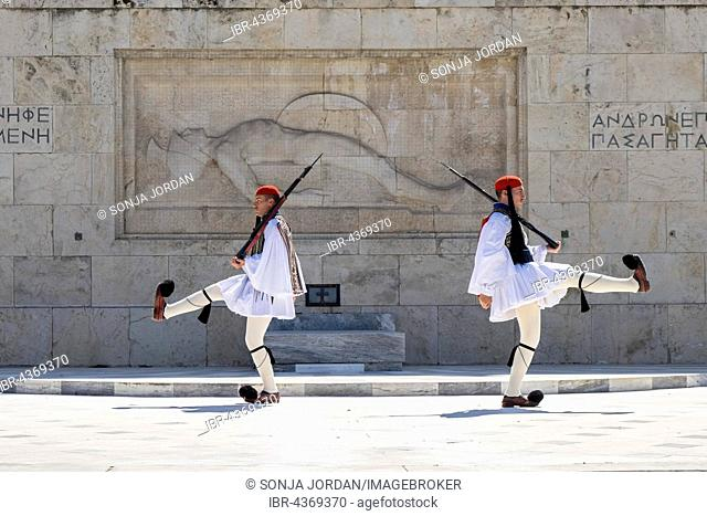 Changing of guards, Evzones in front of the Tomb of the Unknown Soldier, Syntagma Square, Athens, Greece