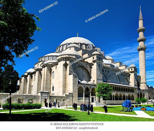 Suleymaniye Mosque in Istanbul at sunny summer day, Turkey
