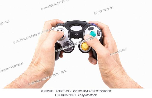 Video game controller on white background with clipping path