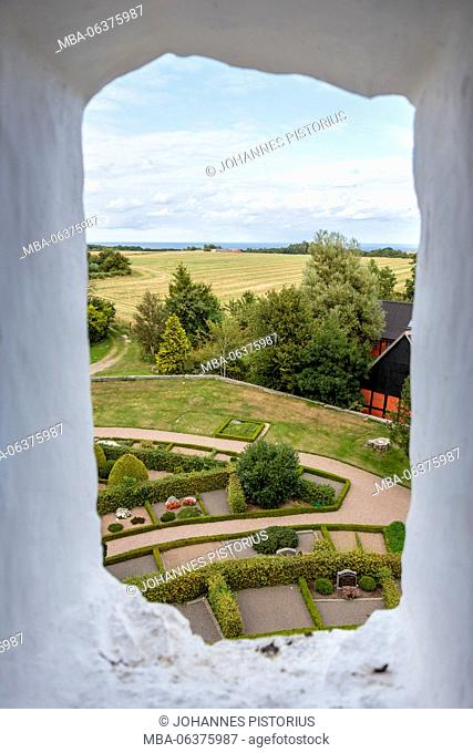 Europe, Denmark, Bornholm, view from Østerlarskirke to the Baltic Sea