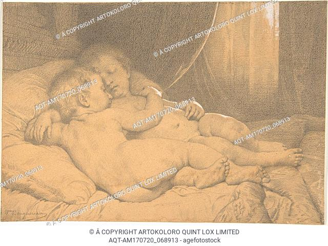 Two Sleeping Children, n.d., Black chalk, heightened with white chalk, Sheet: 5 15/16 x 8 3/4 in. (15.1 x 22.2cm), Drawings, William Bouguereau (French