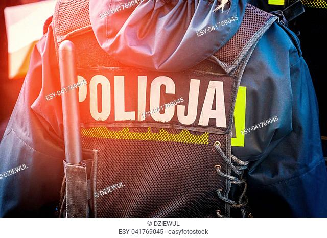 polish police officer, back view, close up