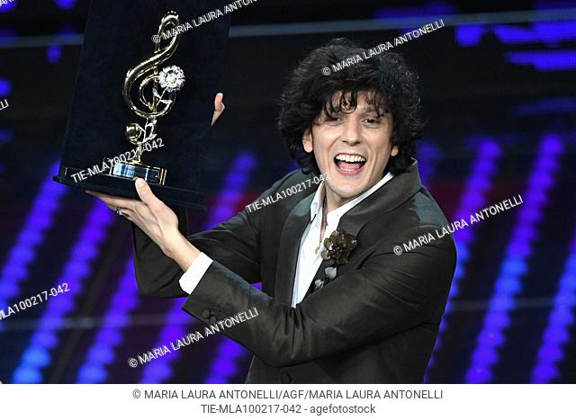 Ermal Meta with the prize Cover during the 67th Sanremo Music Festival, Sanremo, ITALY-09-02-2017
