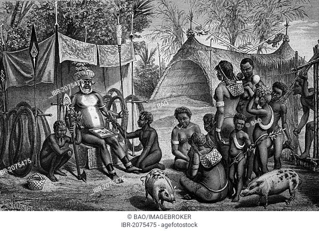 Funeral in New Britain, part of Melanesia, belongs politically to Papua New Guinea, woodcut, historical engraving, 1880