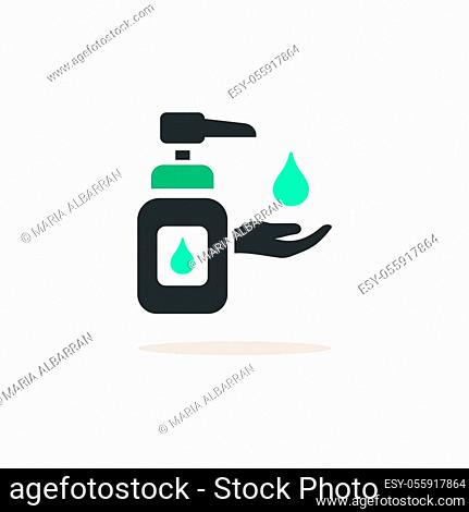 Sanitizer soap. Icon with shadow on a beige background. Pharmacy flat vector illustration
