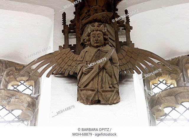Doppelstichbalkendecke mit Engeln