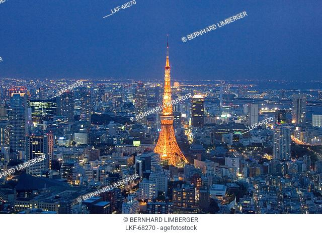 City view and the Tokyo Tower at night, Roppongi Hills, Tokyo, Japan, Asia