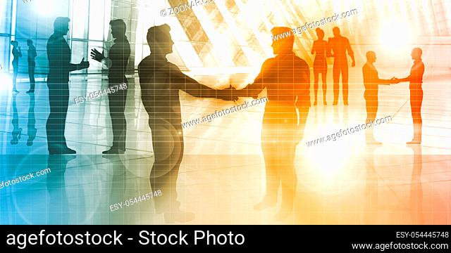 Business People Talking as a Corporate Silhouette Concept
